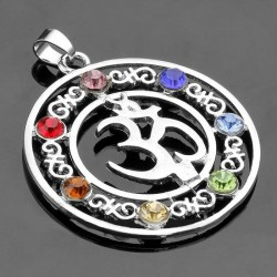 7 chakra OHM symbol pendant