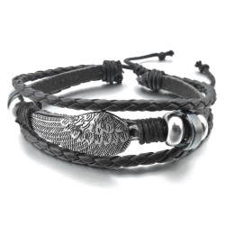 bracelet black with feather