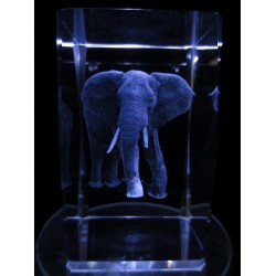 3d laser block with elephant.